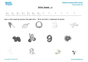 Worksheets for kids - initial sounds-n
