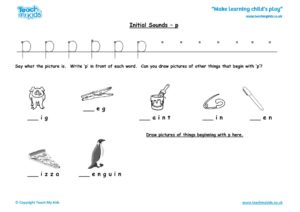 Worksheets for kids - initial sounds-p