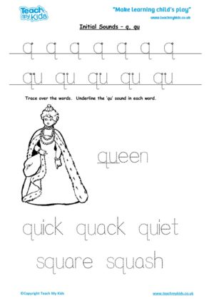 Worksheets for kids - initial sounds-q, qu