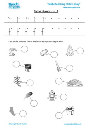 Worksheets for kids - initial sounds-r, f