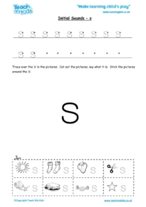 Worksheets for kids - initial sounds-s
