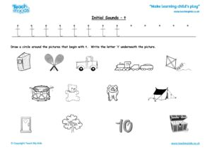 Worksheets for kids - initial sounds-t