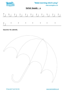 Worksheets for kids - initial sounds-u