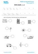 Worksheets for kids - initial sounds-v, w