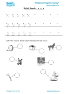 Worksheets for kids - initial sounds-x, y, z