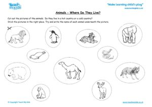 Worksheets for kids - animals – where do they live