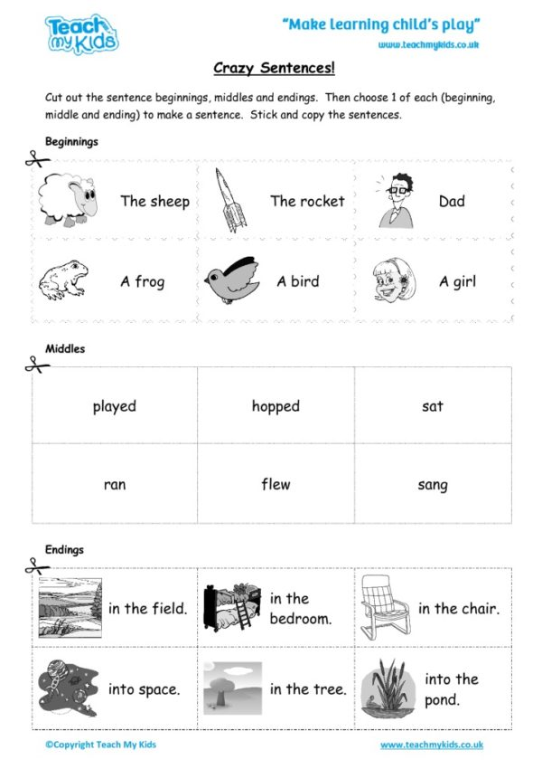 Worksheets for kids - crazy sentences