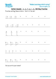 Worksheets for kids - initial sounds-satpin writing practise
