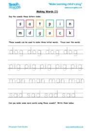 Worksheets for kids - making words 1