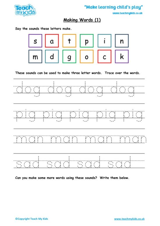 Worksheets for kids - making words 1