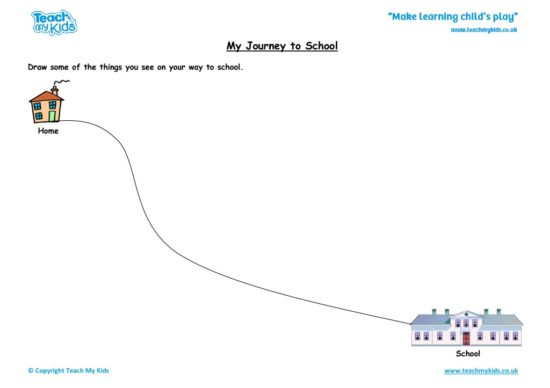 Worksheets for kids - my journey to school