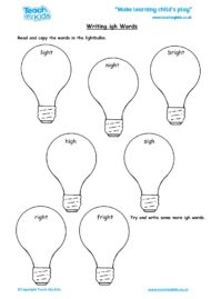 Worksheets for kids - writing igh words