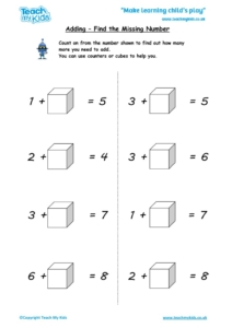 Worksheets for kids - adding-find-the-missing-number