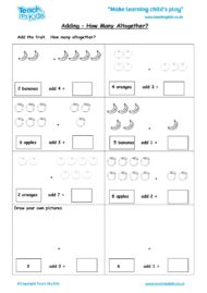 Worksheets for kids - adding-how-many-altogether
