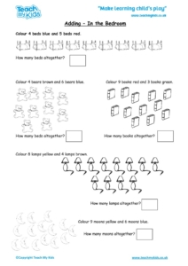 Worksheets for kids - adding-in-the-bedroom
