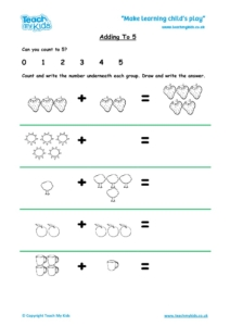 Worksheets for kids - adding-to-5