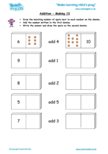 Worksheets for kids - addition-making-10