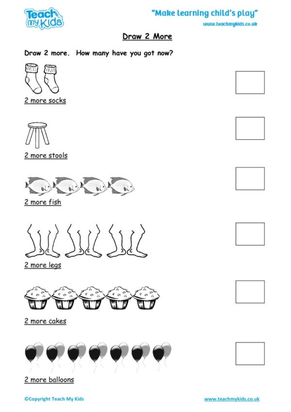 Worksheets for kids - draw-2-more