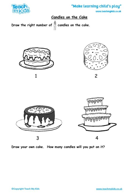 Worksheets for kids - candles-on-the-cake