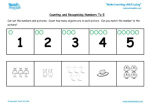 Worksheets for kids - counting-recognising-nos-to-5