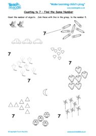 Worksheets for kids - counting-to-7-find-the-same-number
