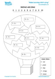 Worksheets for kids - subtract-and-colour