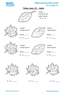 Worksheets for kids - taking-away-3-snails