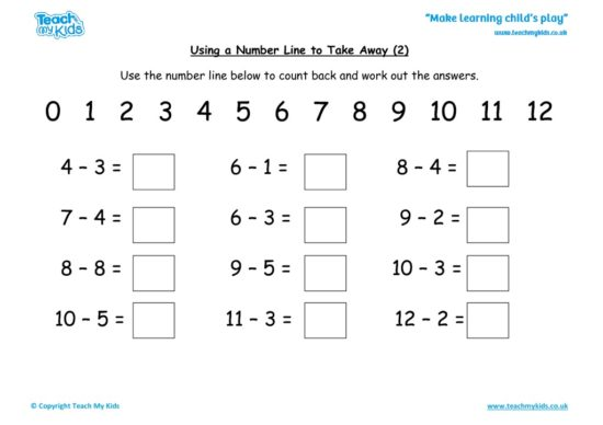 Worksheets for kids - using-a-number-line-to-take-away-_2_
