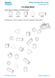 Worksheets for kids - 3d-shape-match