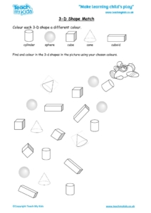 Worksheets for kids - 3d-shape-match