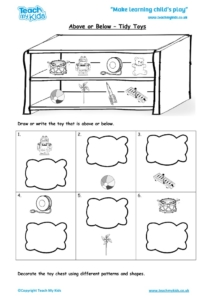 Worksheets for kids - above-or-below-tidy-toys