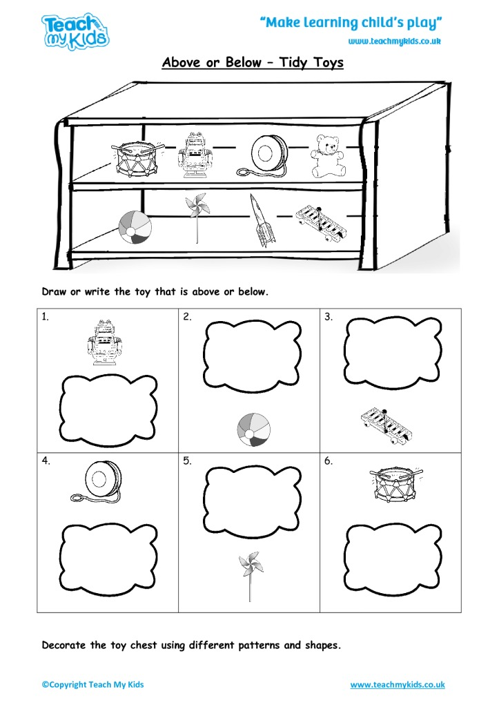 Above Or Below Tidy Toys Tmk Education. Above Or Below Tidy Toys. Worksheet. Above Below Worksheets At Clickcart.co