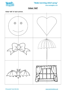 Worksheets for kids - colour-half