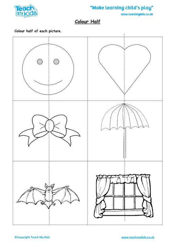 Worksheets for kids - colour-half
