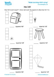 Worksheets for kids - how-tall
