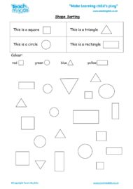 Worksheets for kids - shape-sorting