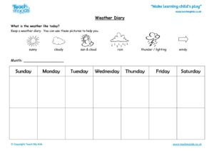 Worksheets for kids - weather-diary