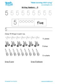 Worksheets for kids - writing 5