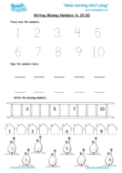 Worksheets for kids - writing missing numbers to 10-2