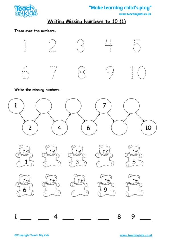 Worksheets for kids - writing missing numbers to 10