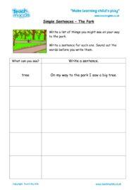 Worksheets for kids - Simple-sent-the-park