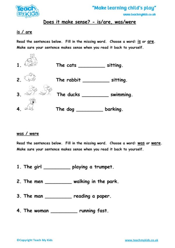 Worksheets for kids - does-it-make-sense-is-are-was-were