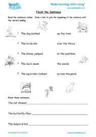 Worksheets for kids - finish-the-sentence