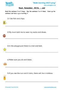 Worksheets for kids - read,_remember_write_-_and_2