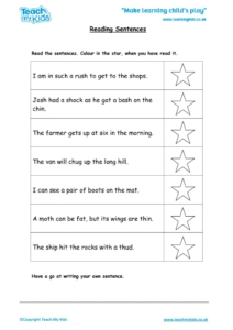 Worksheets for kids - reading-sentences