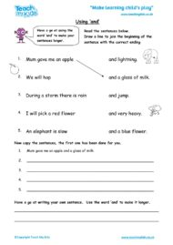 Worksheets for kids - using and