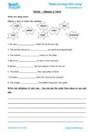 Worksheets for kids - verbs-choose-a-verb