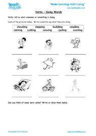 Worksheets for kids - verbs-doing-words