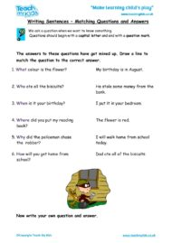 Worksheets for kids - writing-sentences-matching-questions-to-answers