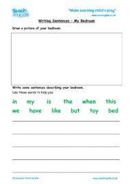 Worksheets for kids - writing-sentences-my-bedroom